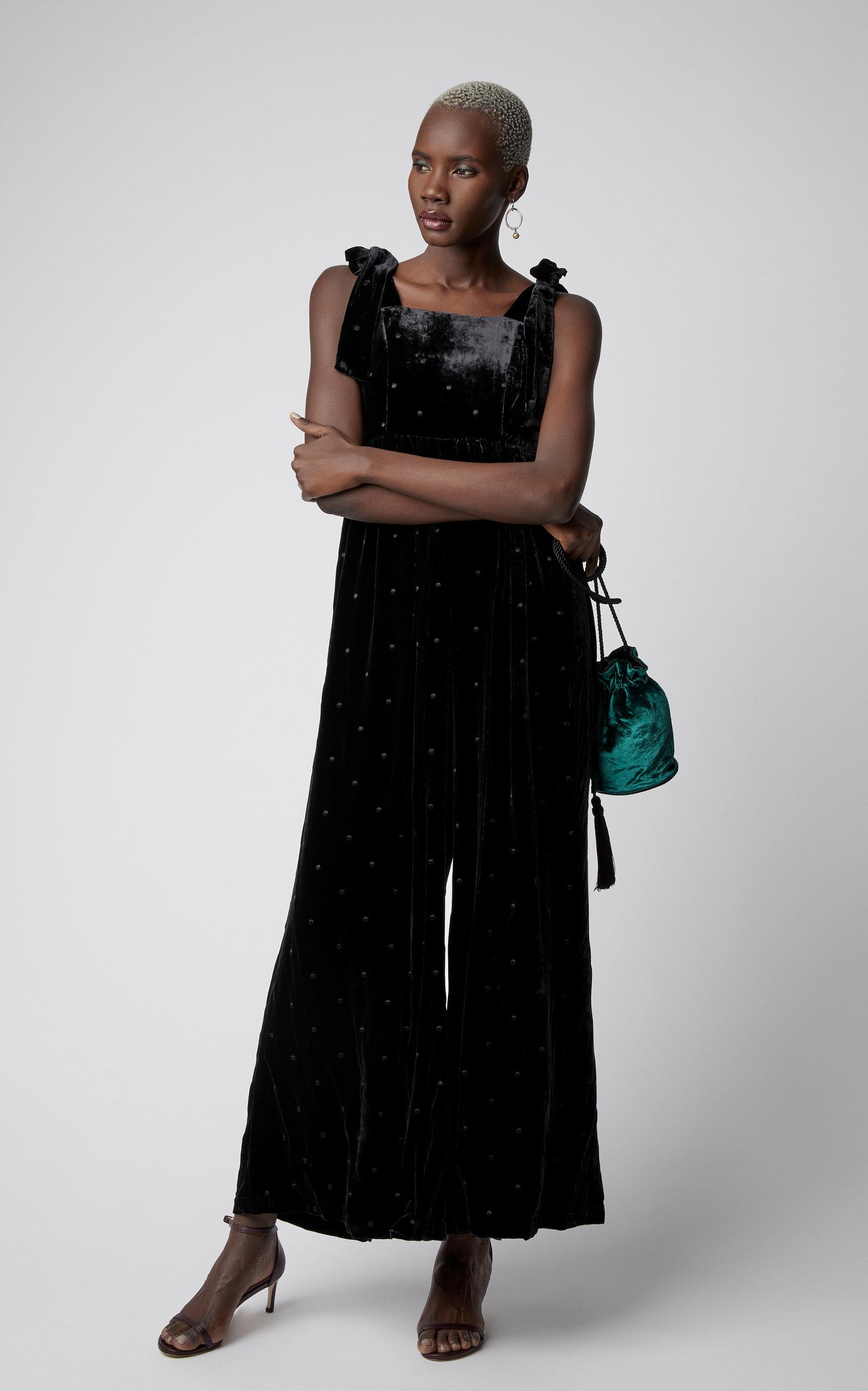 62af8dae2ad1 Ulla Johnson Minnet Embroidered Velvet Jumpsuit In Black