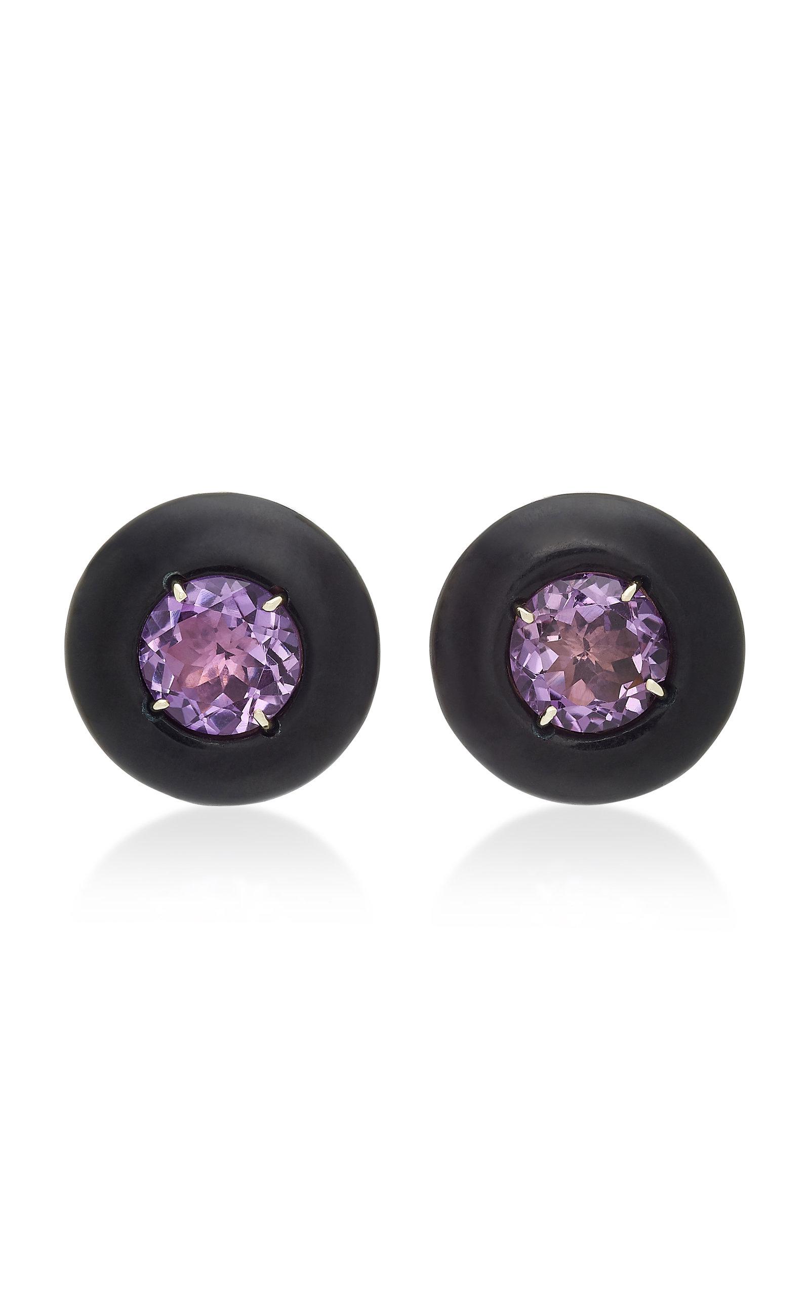 SORAB & ROSHI 18K Gold Amethyst And Onyx Clip Earrings in Purple