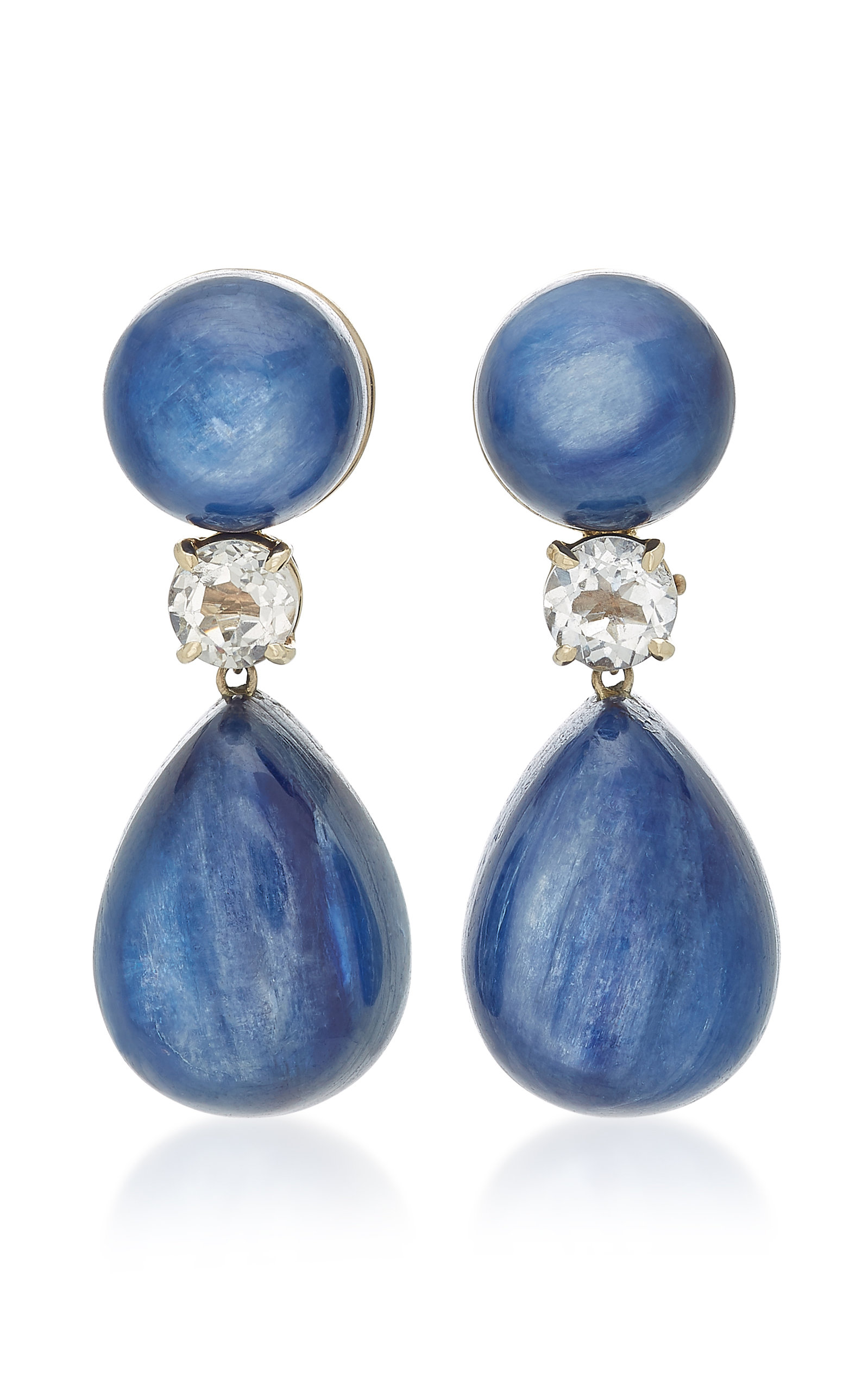 SORAB & ROSHI 18K White Gold Kynite And Topaz Earrings in Blue