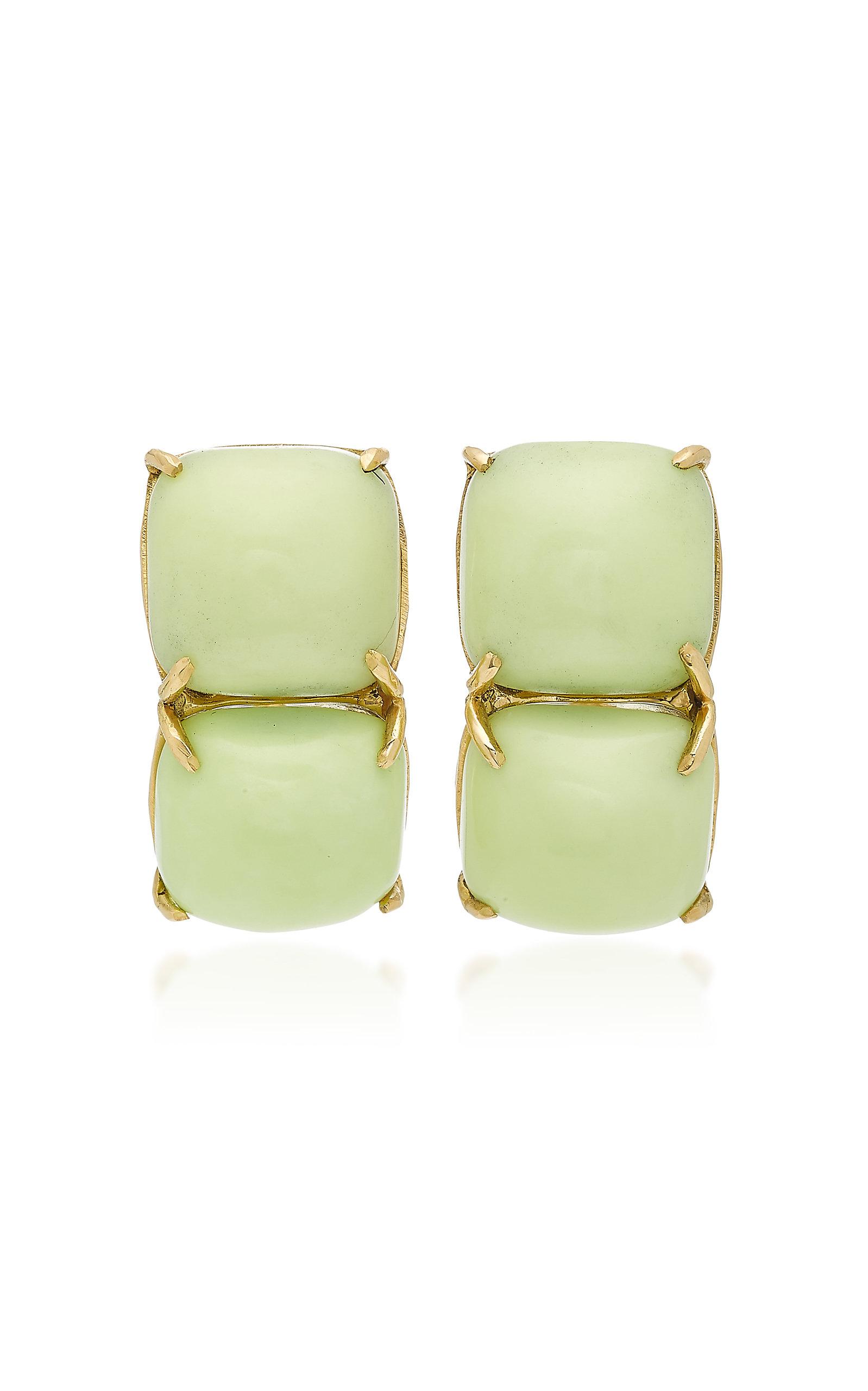 SORAB & ROSHI 18K Gold Crysophase Clip Earrings in Green