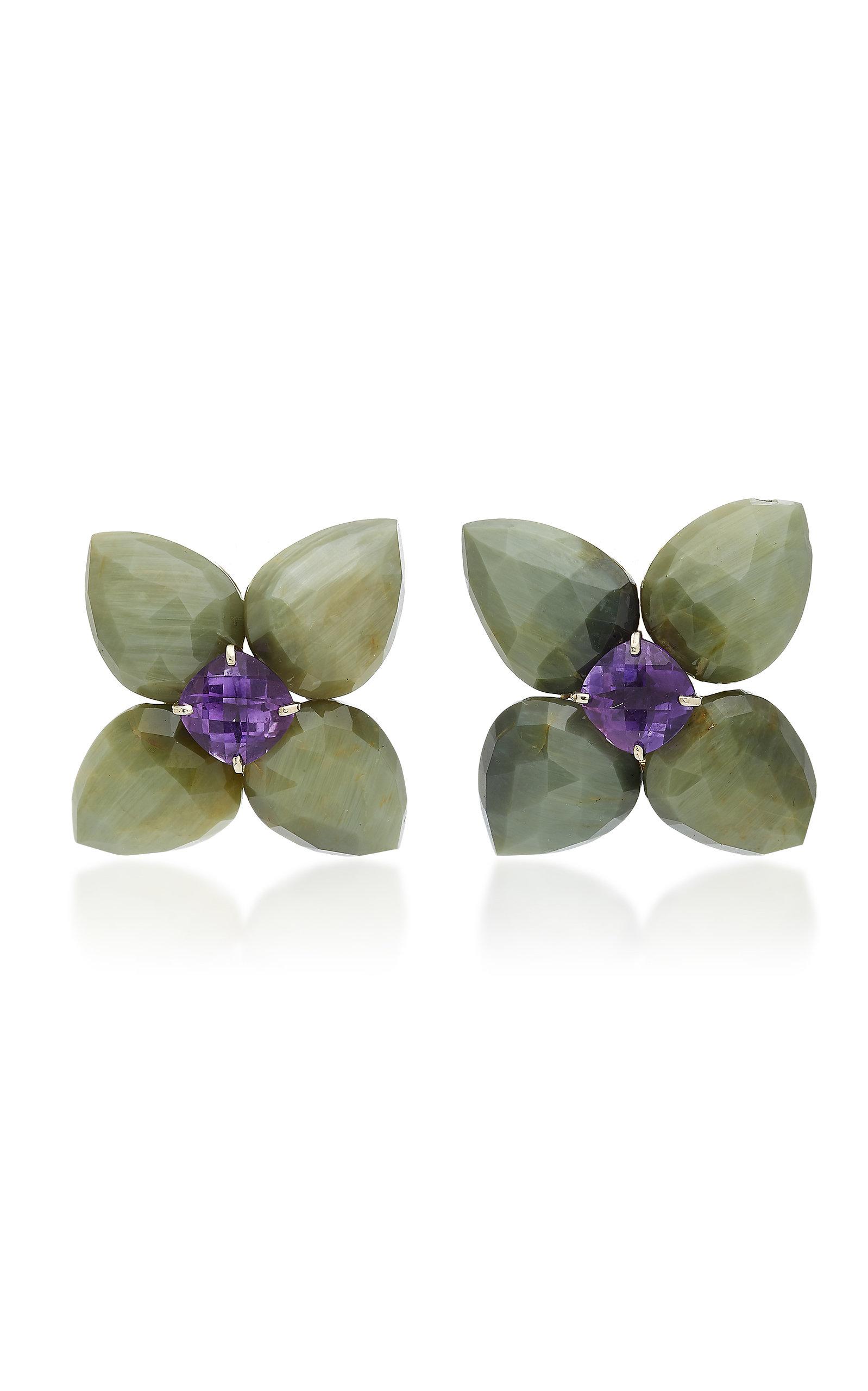 SORAB & ROSHI Cats-Eye And Amethyst Clip Earrings in Purple