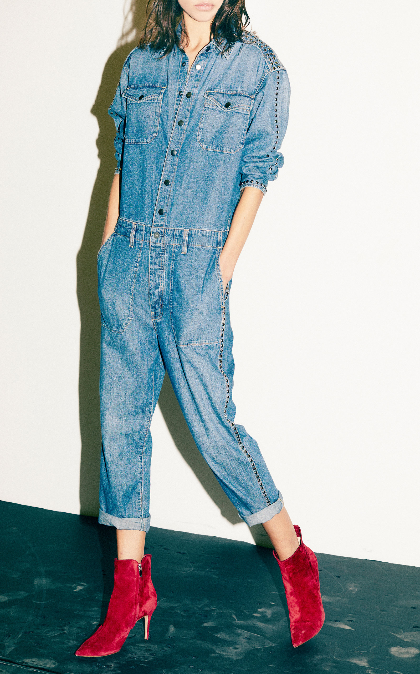 bef5d865a0c Crew Cropped Studded Denim Jumpsuit by Current Elliott