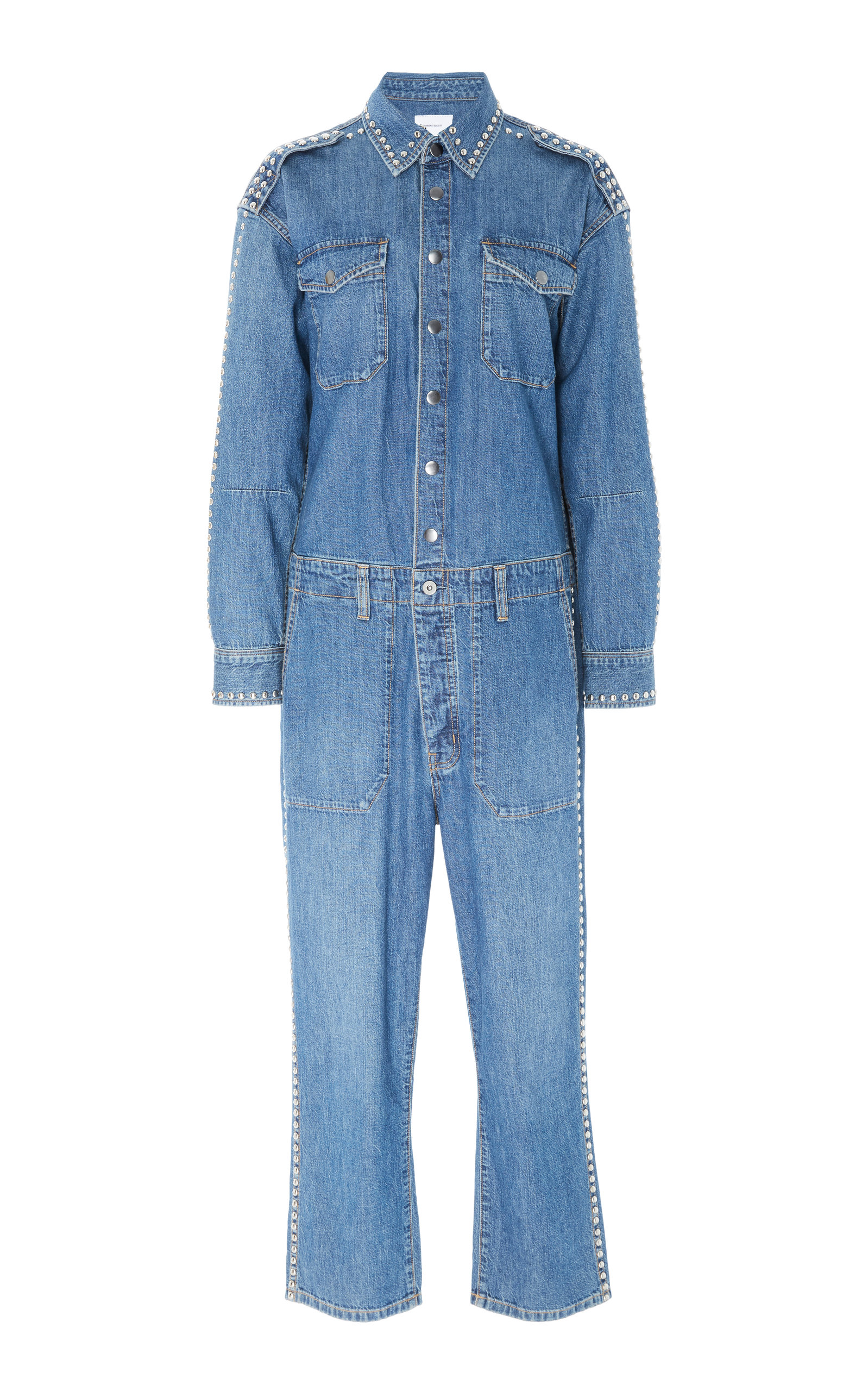 Crew Coverall Straight Leg Denim Jumpsuit in Mid Denim