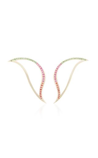 BEA BONGIASCA | Bea Bongiasca Heliconia 9K Gold Leaf Earrings | Goxip