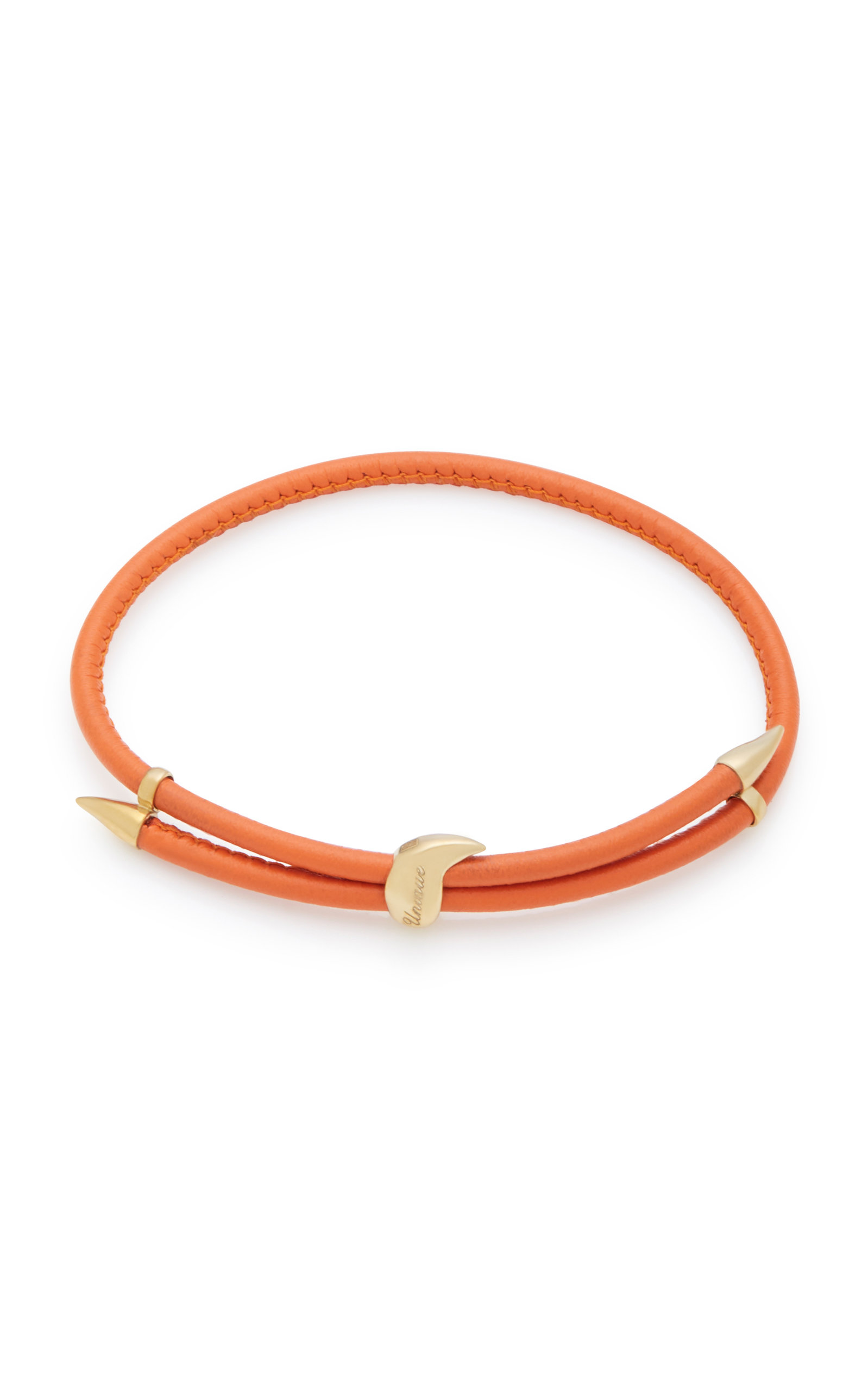 BEA BONGIASCA HELICONIA 9K GOLD AND LEATHER BRACELET