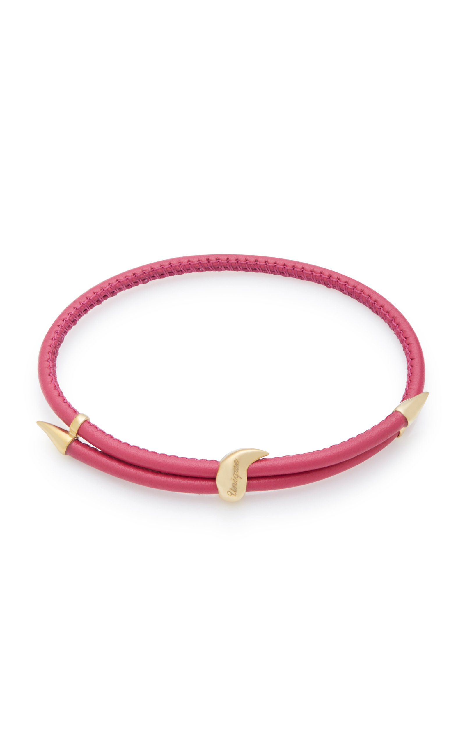 BEA BONGIASCA Heliconia Unique Adjustable 9K Gold And Leather Bracelet in Pink