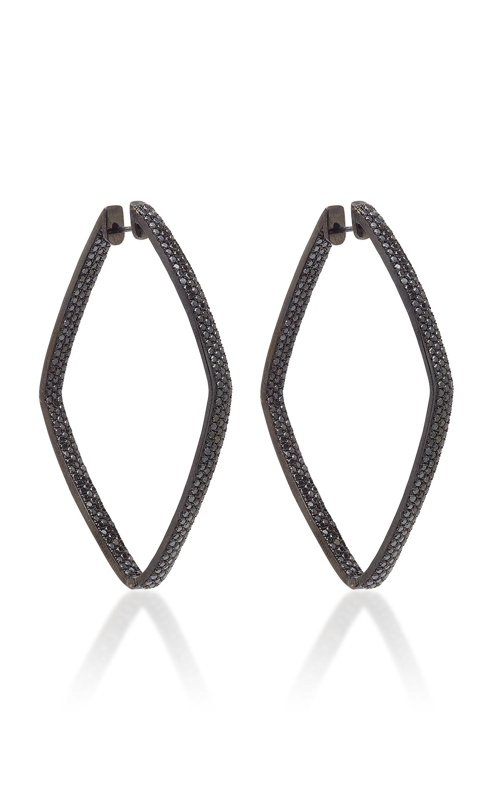 OFIRA BLACK DIAMOND DIAMOND SHAPE HOOP EARRINGS