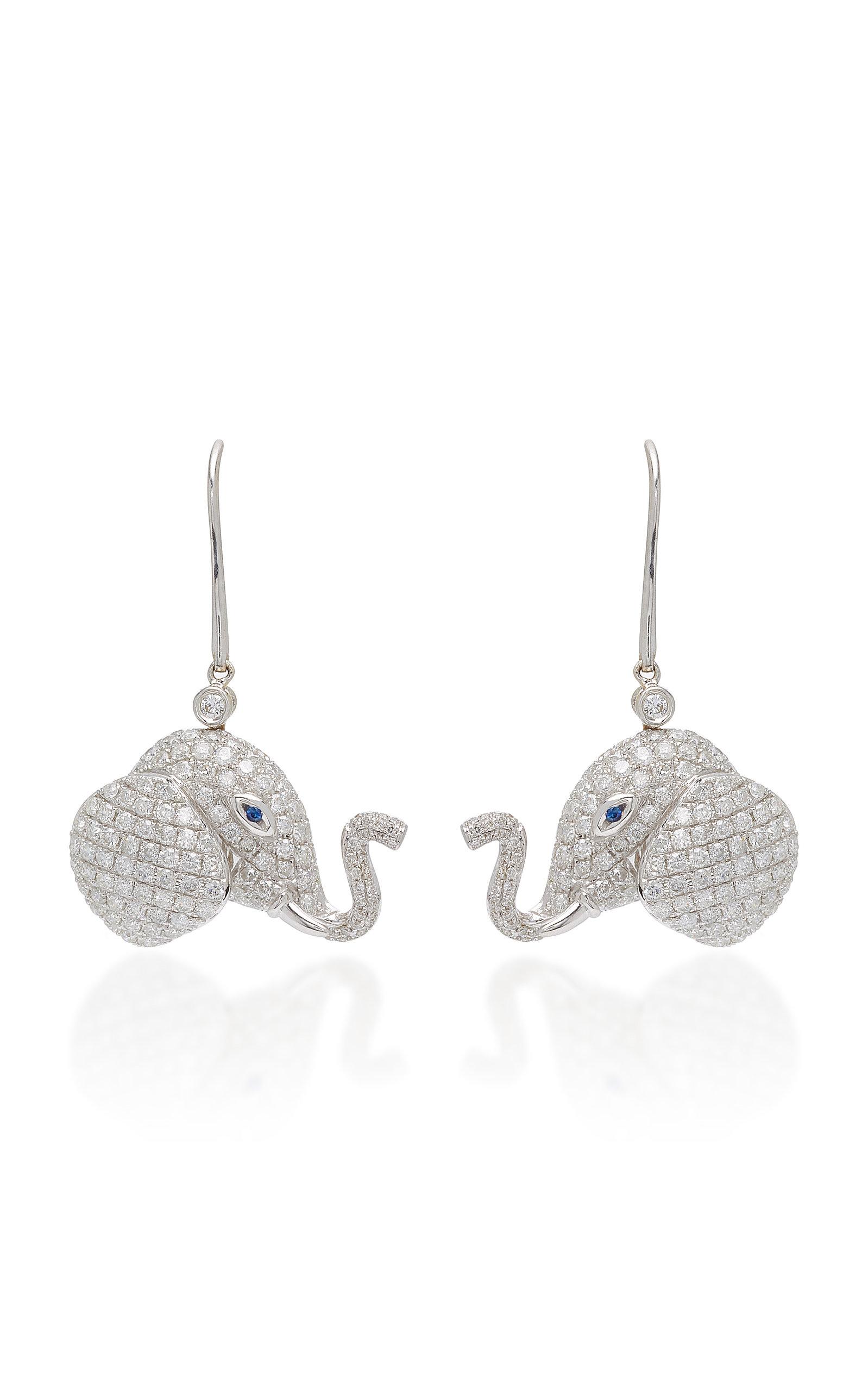 OFIRA WHITE DIAMOND ELEPHANT DROP EARRINGS
