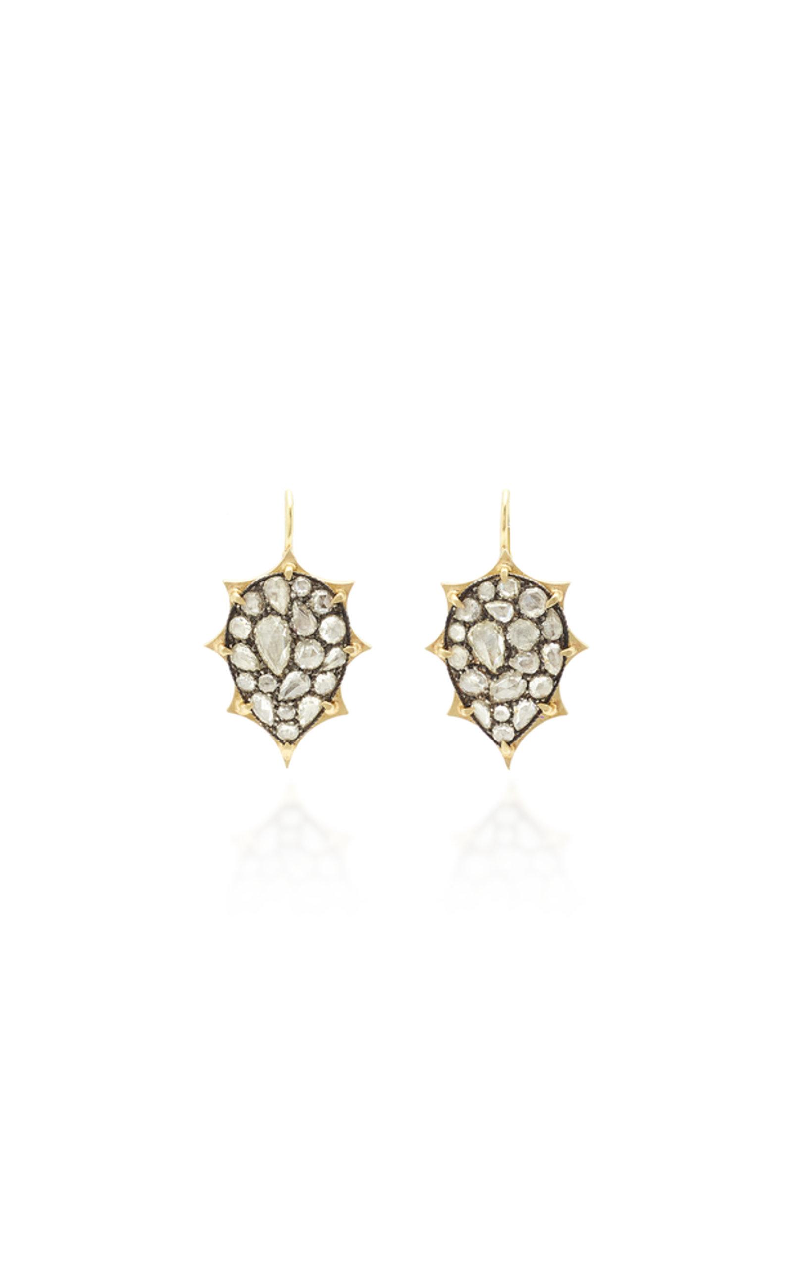 SYLVA & CIE 18K YELLOW GOLD WHITE ROSE CUT DIAMOND EARRINGS