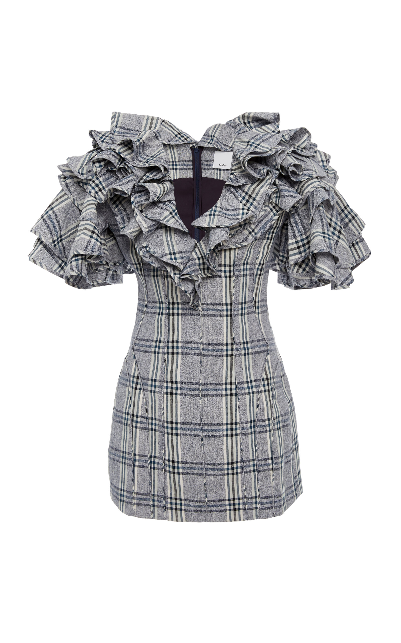 ACLER Cullen Ruffled Plaid Cotton And Linen-Blend