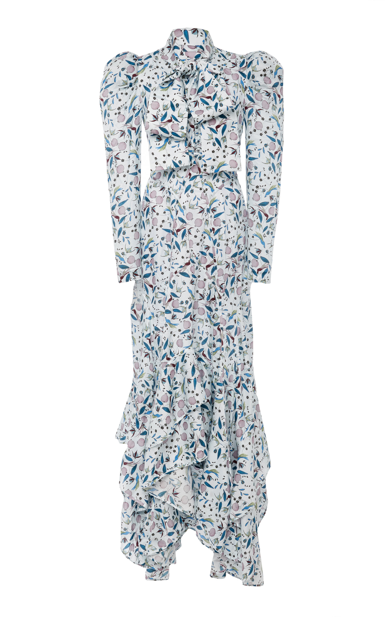 ACLER Taubman Pussy-Bow Floral-Print Cotton And Silk-Blend Dress