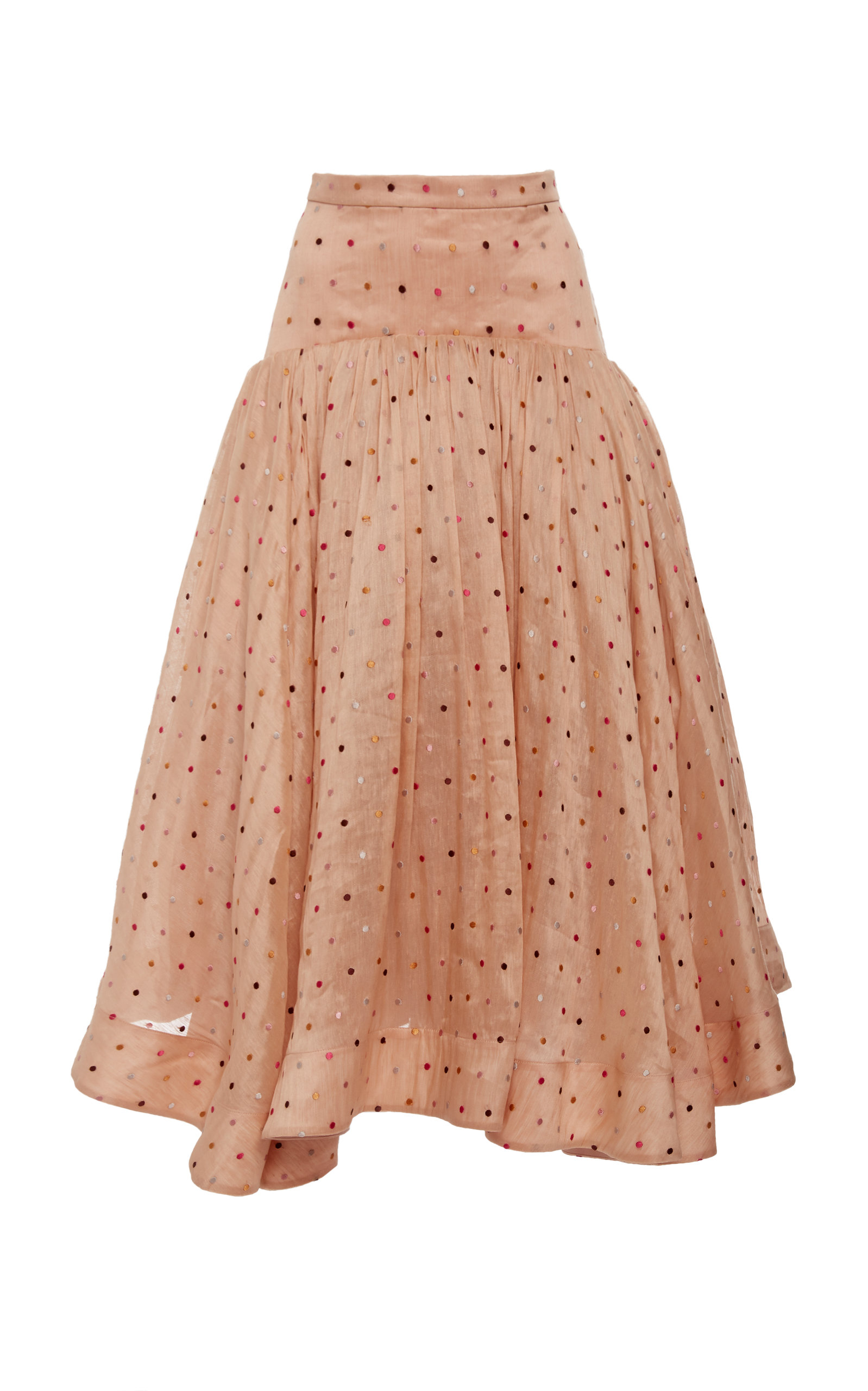 ACLER Parxton Gathered Embroidered Linen And Silk-Blend Skirt in Pink