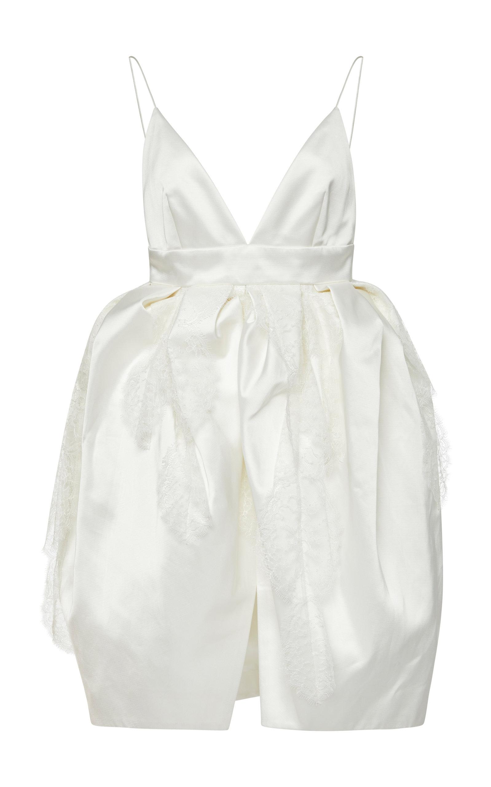DANIELLE FRANKEL BRIDAL Iris Open-Back Gathered Waist Satin Mini Dress in White