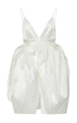 DANIELLE FRANKEL BRIDAL | Danielle Frankel Bridal Iris Open-Back Gathered Waist Satin Mini Dress | Goxip