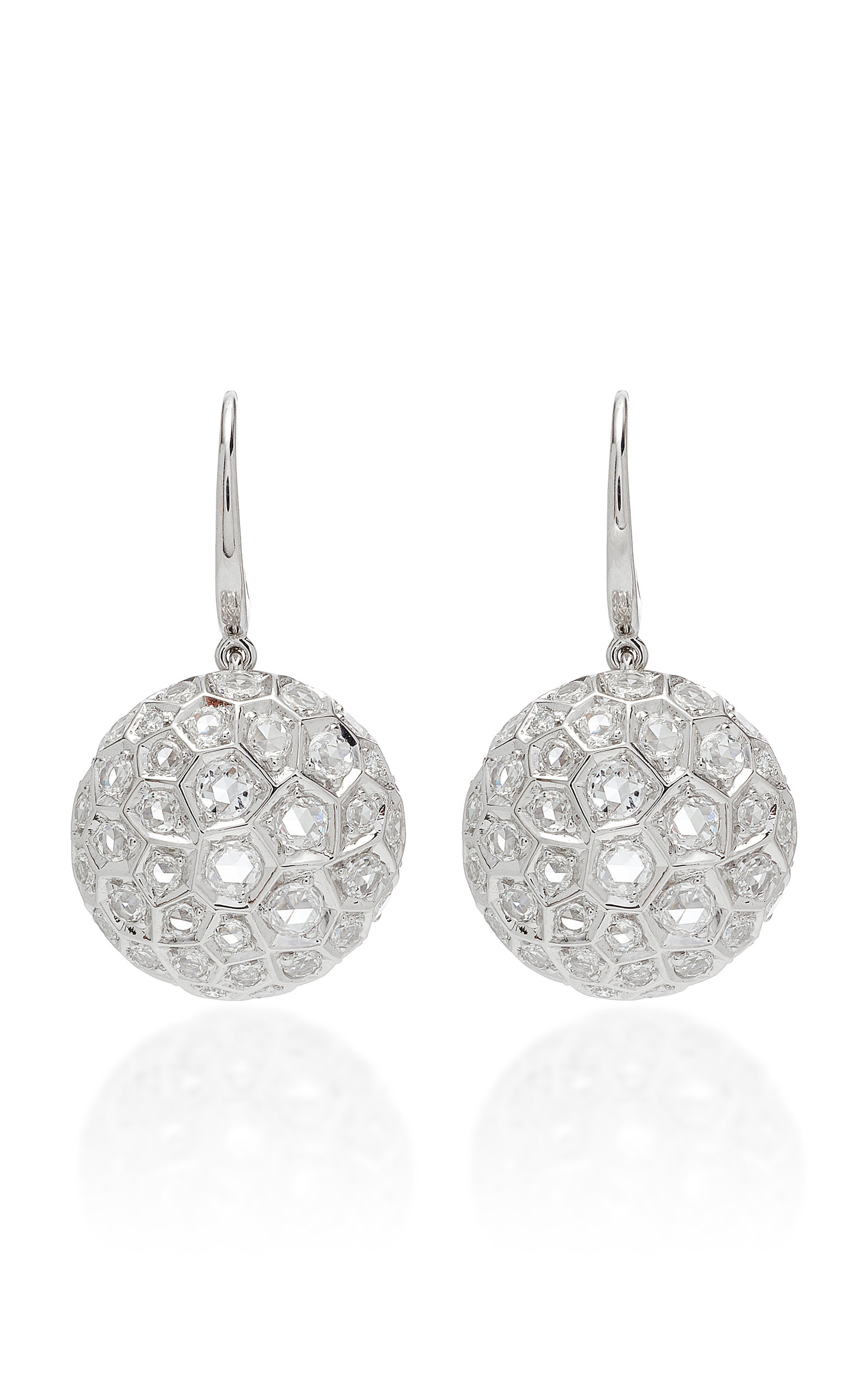 SIDNEY GARBER Honeycomb 18K White Gold And Diamond Drop Earrings