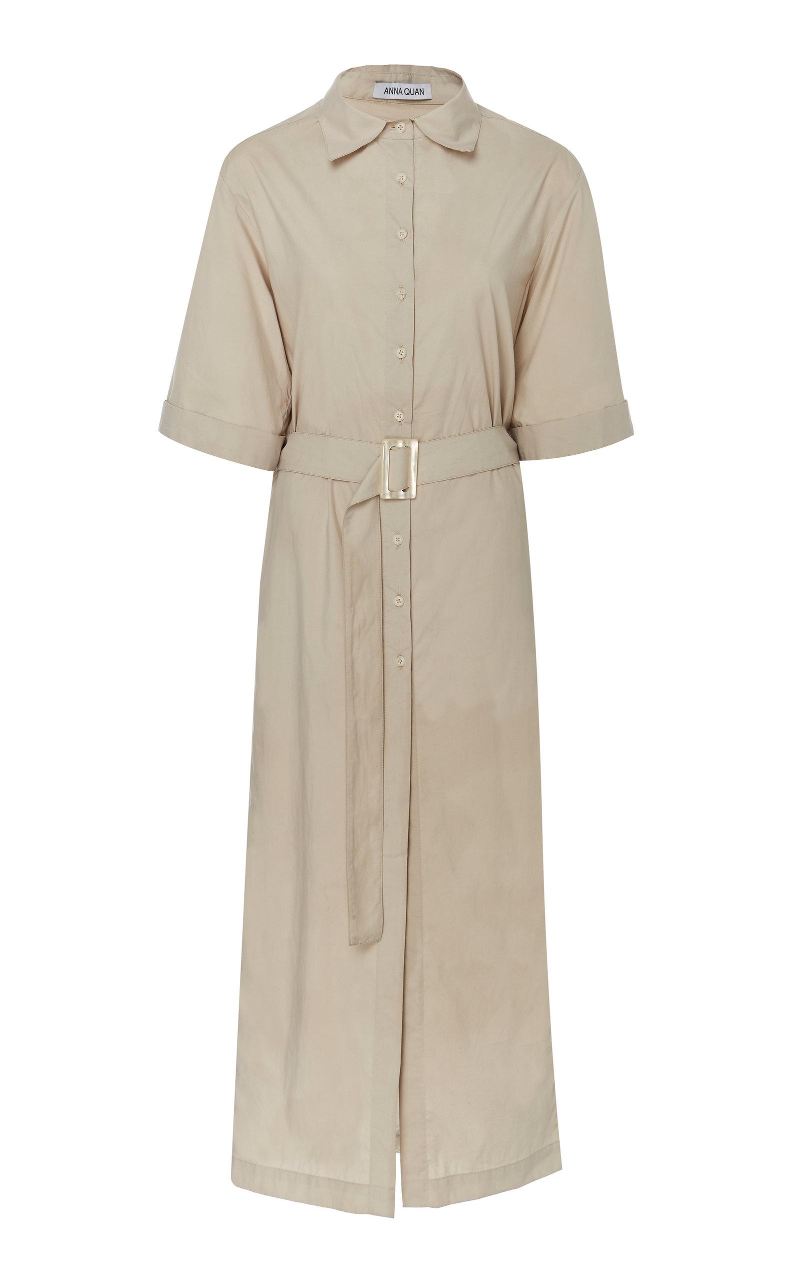 ANNA QUAN Zola Cotton Shirt Dress in Neutral