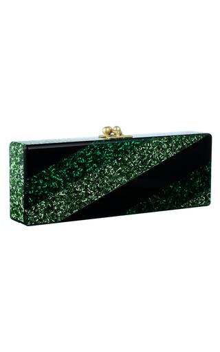 Medium edie parker black geometric sea green confetti flavia clutch
