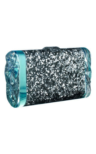 Medium edie parker turquoise back lit silver confetti lara clutch