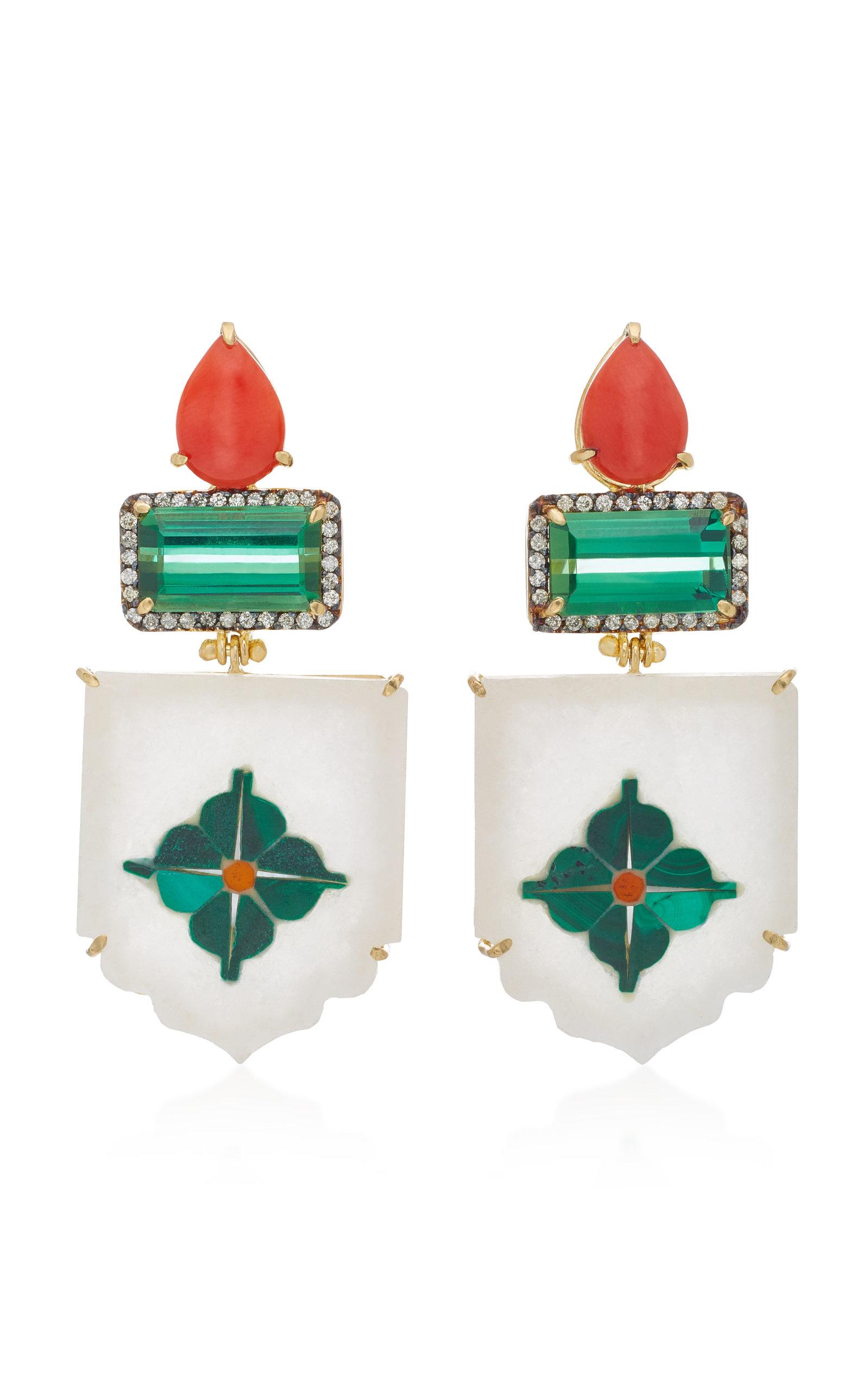 India Marble Mosaic Earrings Silvia Furmanovich y0I1X