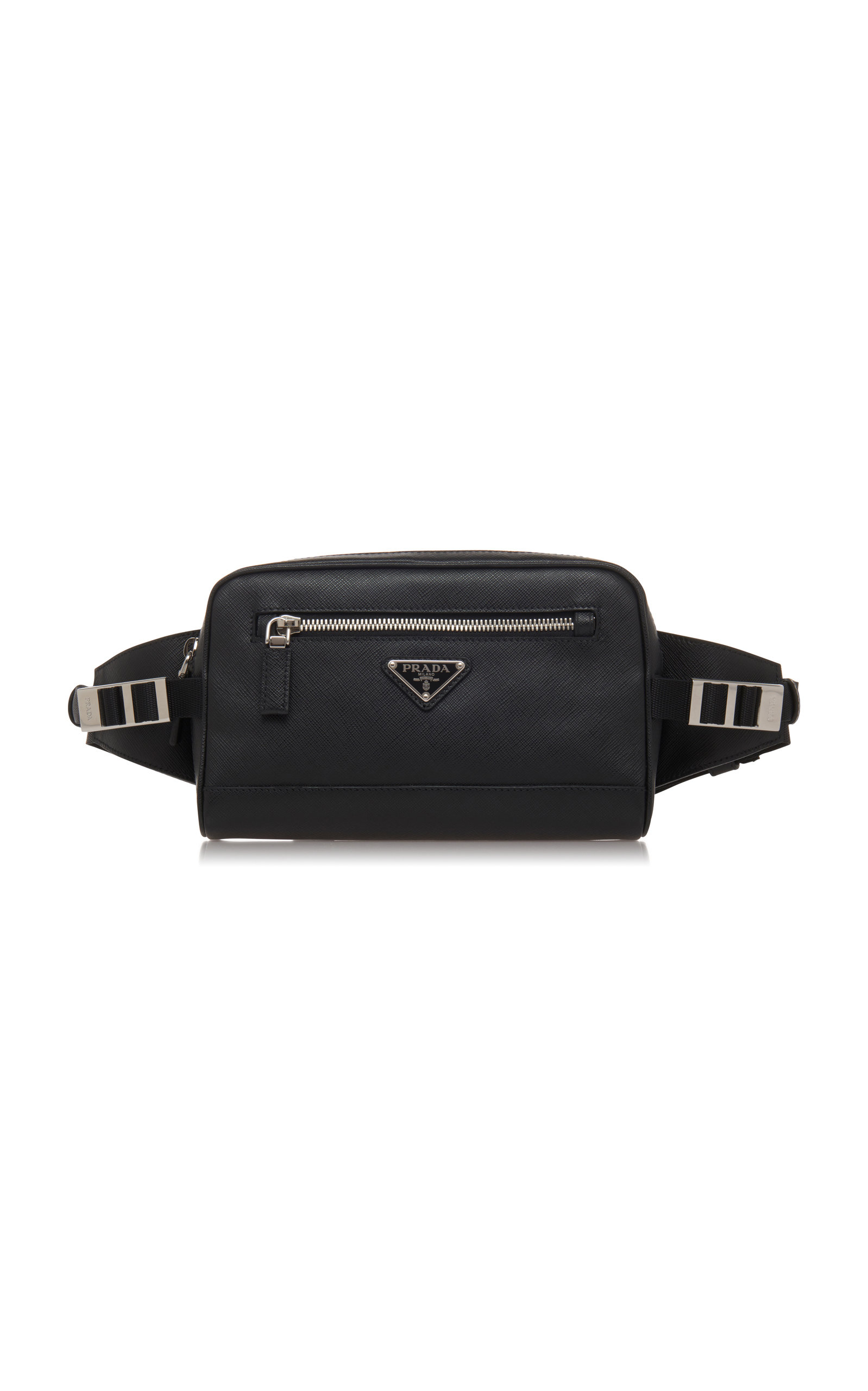 d627b9e9221b Black Leather Hip Bag With Nylon Waistband by Prada | Moda Operandi