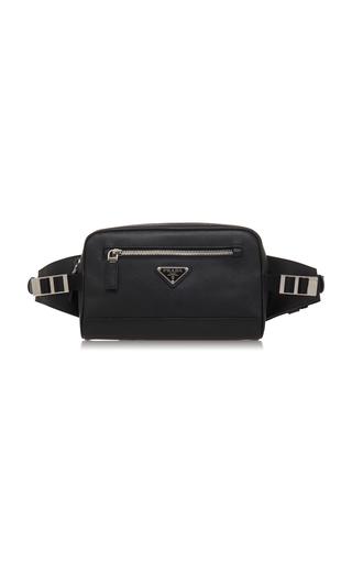 PRADA | Prada Black Leather Hip Bag With Nylon Waistband | Goxip