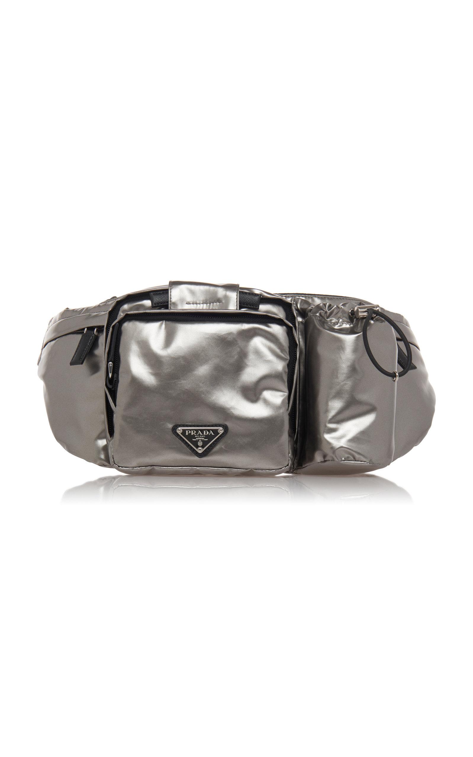 Prada Silver Nylon Hip Bag With Water Bottle Holder In Grey