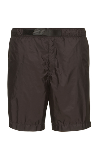 PRADA | Prada Black Nylon Swim Trunk With Velcro Detail | Goxip