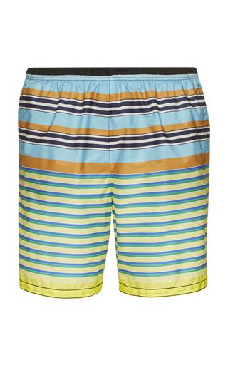 PRADA | Prada Multicolored Nylon Striped Swim Trunks | Goxip