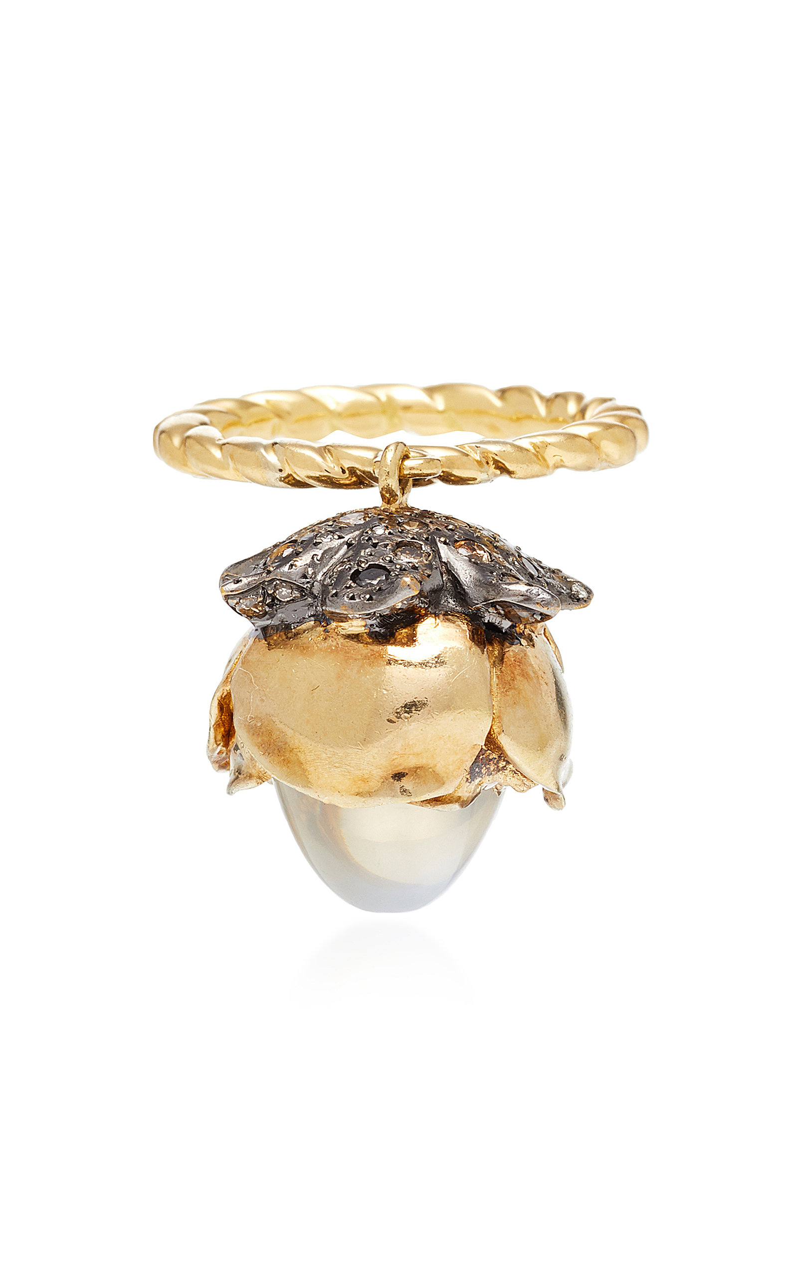 ONE-OF-A-KIND MOBILE MOONSTONE FLOWER RING