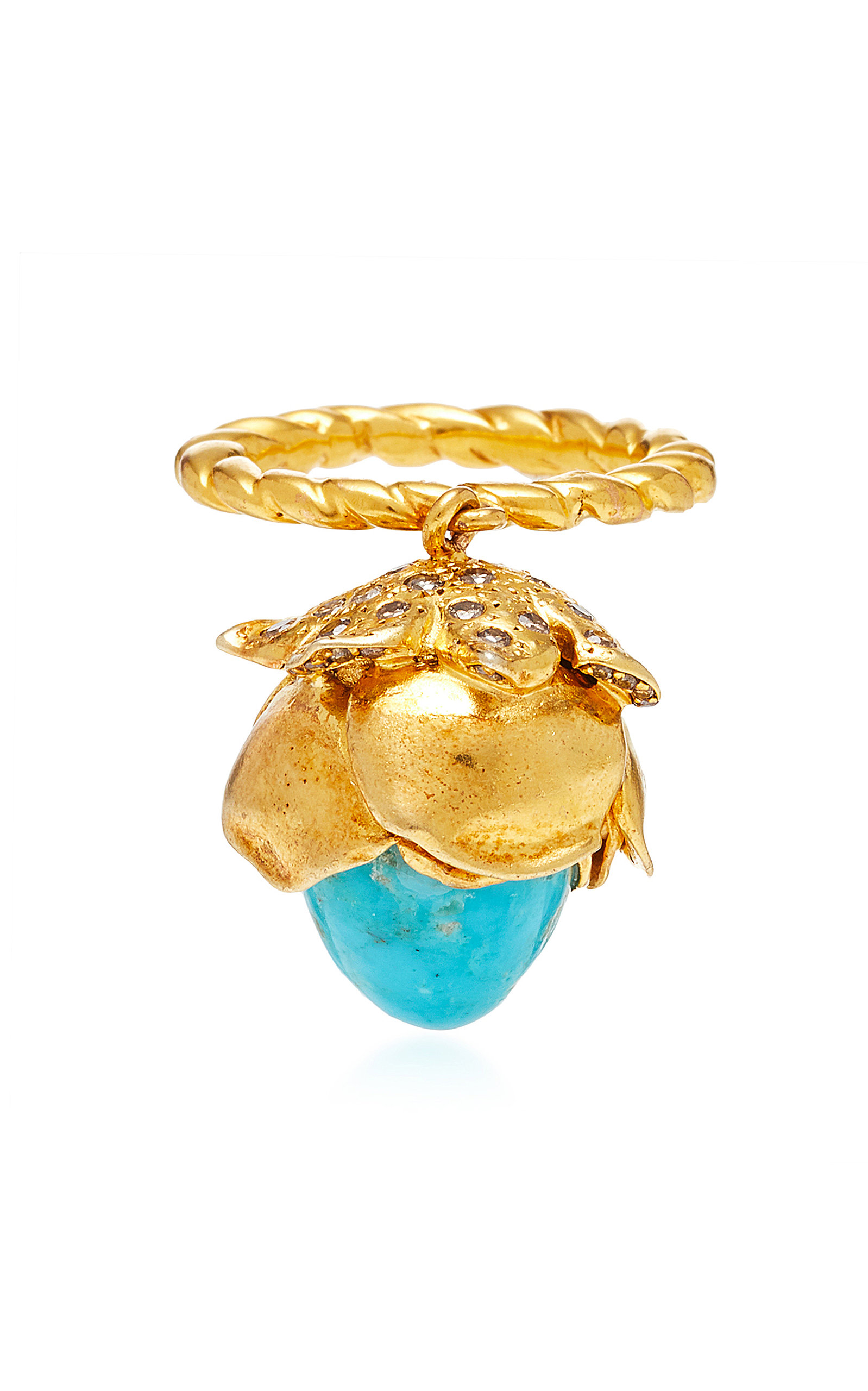 ONE-OF-A-KIND MOBILE TURQUOISE FLOWER RING