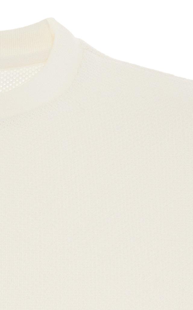 THOM BROWNE | Thom Browne Honeycomb Cotton-Pique Crewneck Sweatshirt | Goxip