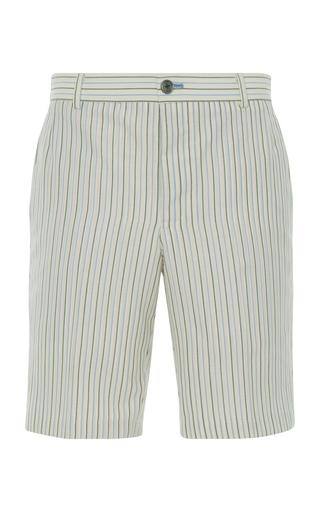 THOM BROWNE | Thom Browne Striped Wool And Silk Chino Shorts | Goxip