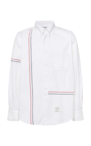 THOM BROWNE | Thom Browne Striped Cotton Oxford Button-Down Shirt | Goxip