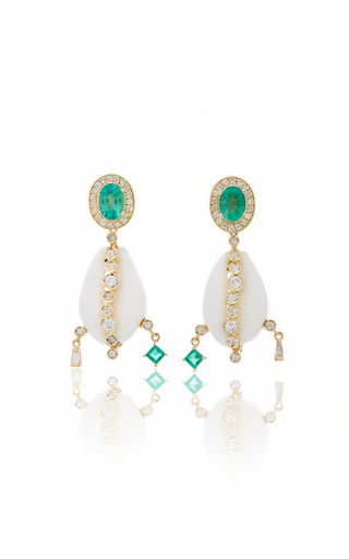 ARON & HIRSCH | Aron & Hirsch Tumi Emerald Shell Earrings | Goxip