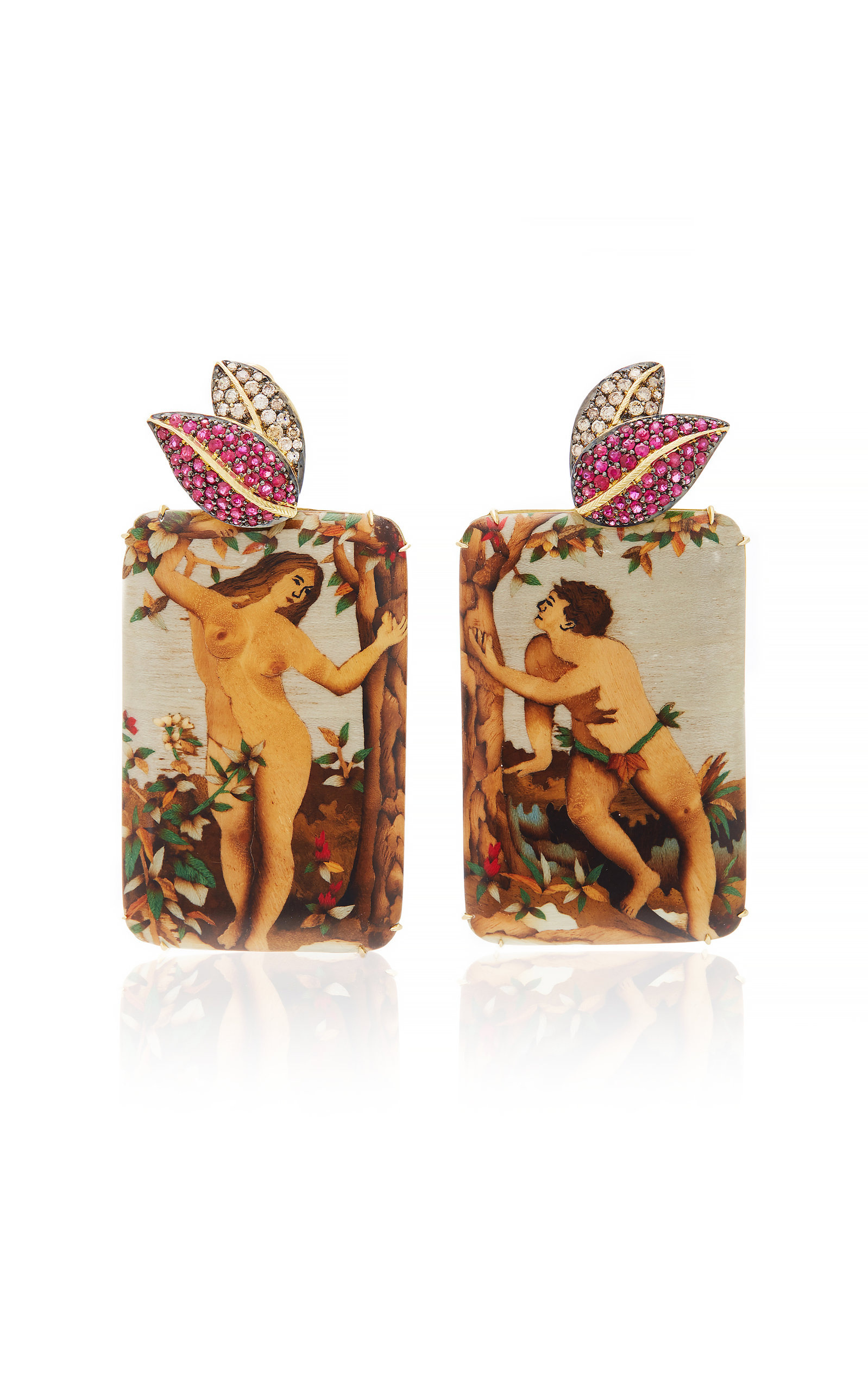 SILVIA FURMANOVICH MARQUETRY ADAM & EVE EARRINGS