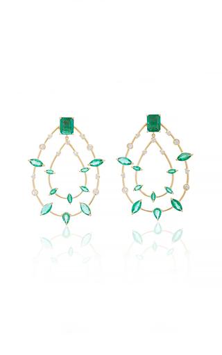 CAROLINA NEVES   Carolina Neves Emerald Drop Earrings   Goxip