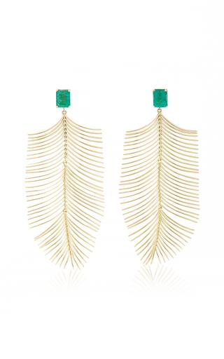 ESSERE | ESSERE Long Palm Emerald Earrings | Goxip