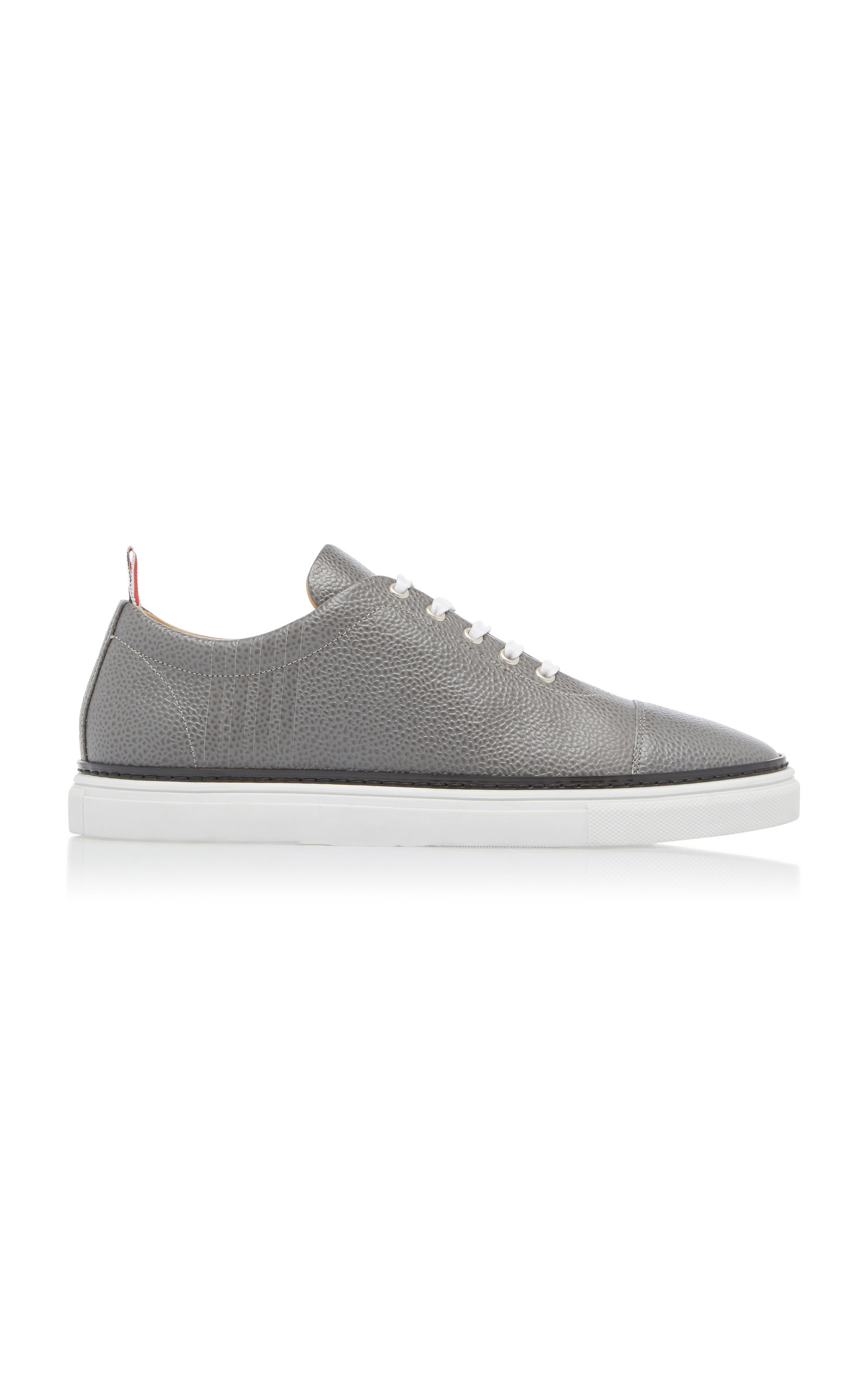 d4e3ce635b0 Pebble-Grain Leather Cap-Toe Sneakers by Thom Browne