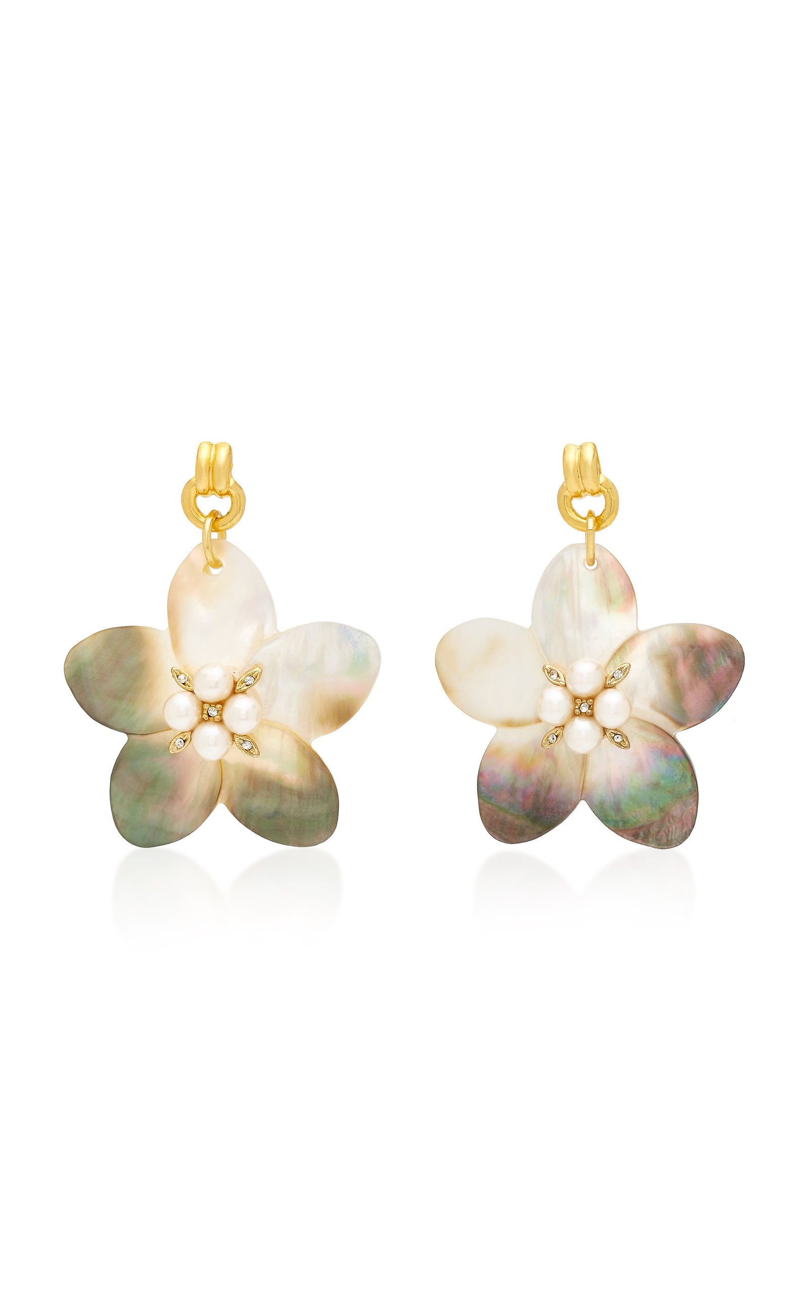 BRINKER & ELIZA MUSE MOTHER OF PEARL AND CRYSTAL EARRINGS