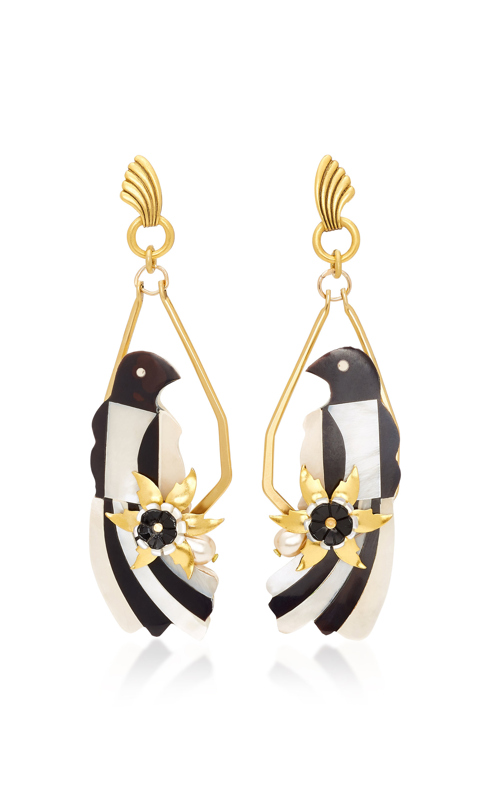 BRINKER & ELIZA IF YOU'RE A BIRD 24K GOLD-PLATED MOTHER OF PEARL EARRINGS