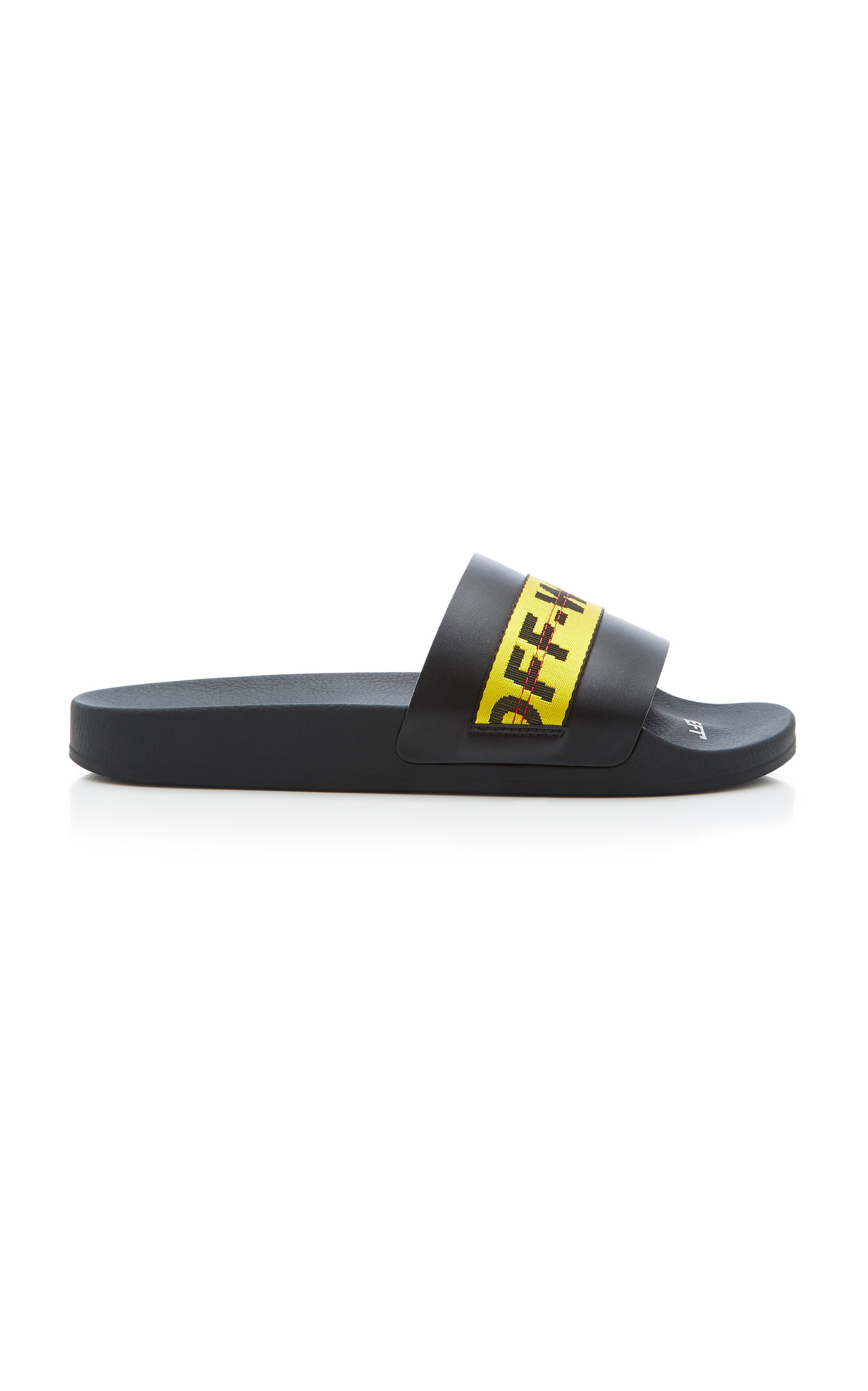86a86304f Off-White Logo Webbing-Trimmed Leather Slides - Black In 1060 Black/Yellow