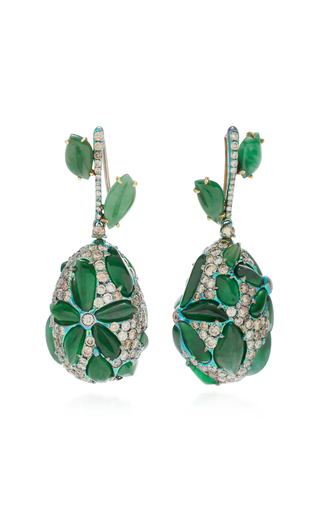 ARUNASHI | Arunashi One-Of-A-Kind Imperial Jade Flower Drop Earrings | Goxip
