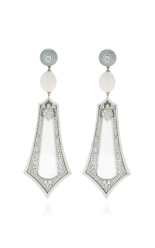 ARUNASHI | Arunashi One-Of-A-Kind Imperial White Jade Earrings | Goxip