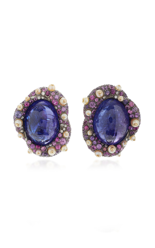 ARUNASHI | Arunashi One-Of-A-Kind Tanzanite And Sapphire Stud Earrings | Goxip