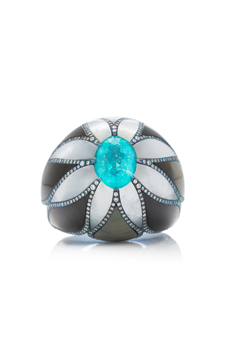 ARUNASHI | Arunashi One-Of-A-Kind Paraiba And Mother Of Pearl Ring | Goxip