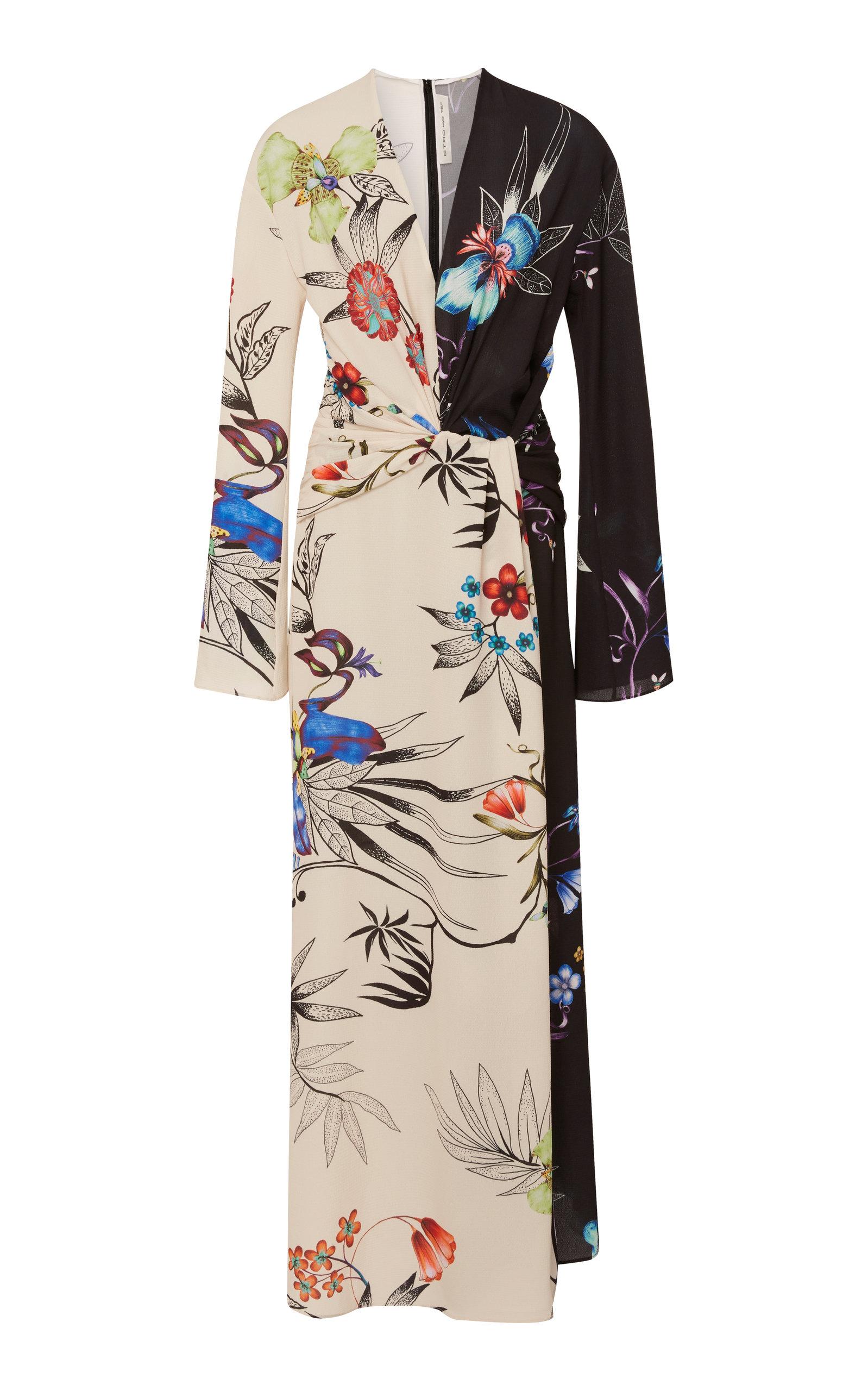 Etro Dress Peggy Two-Tone Floral Crepe Maxi Dress