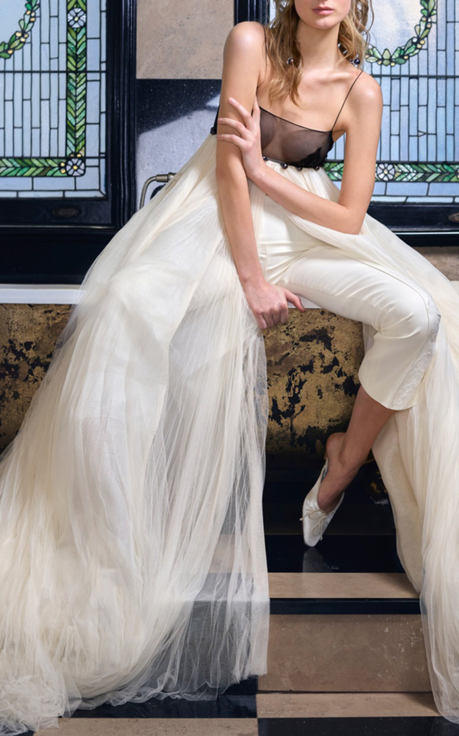 DANIELLE FRANKEL BRIDAL MAEVE PLEATED TULLE EMPIRE GOWN