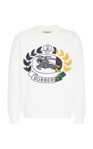 BURBERRY | Burberry Embroidered Cotton Blend-Jersey Sweatshirt | Goxip