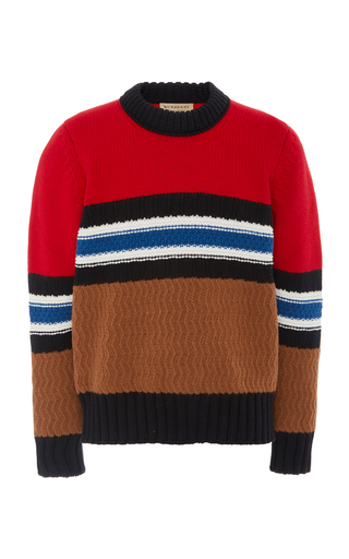 BURBERRY   Burberry Striped Textured Wool-Blend Sweater   Goxip