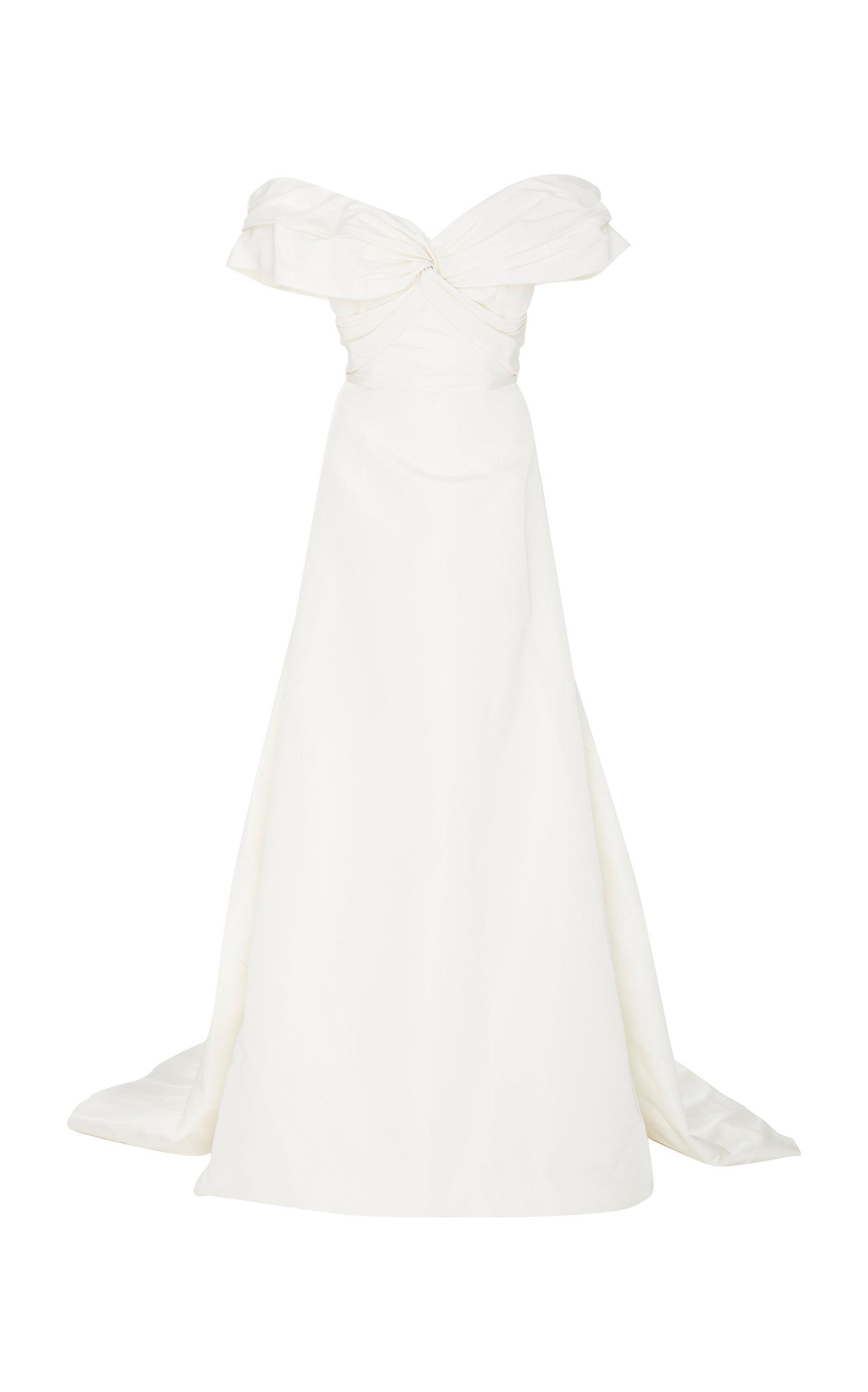 Carolina Herrera Wedding Dress.Harlow Twisted Off The Shoulder Silk A Line Gown
